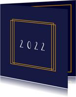Moderne kerstkaart goud met eigen logo