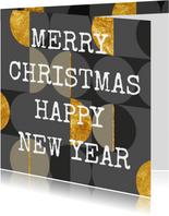 Moderne kerstkaart, grijs met goud. Christmas. New Year