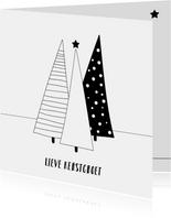 Moderne kerstkaart kerstbomen zwart wit