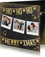 Moderne kerstkaart met polaroids en gouden slingers