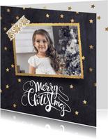 Moderne kerstkaart zwart goud foto
