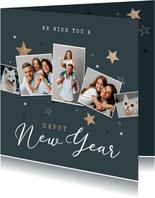 Moderne nieuwjaarskaart houten sterren met foto's