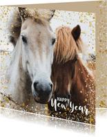 Moderne nieuwjaarskaart met goud en wit spetter kader