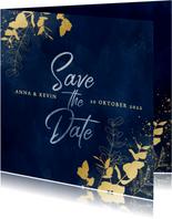 Moderne save the date kaart blauwe waterverf gouden planten