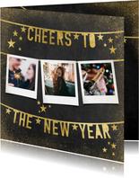 Moderne uitnodiging nieuwjaarsborrel slingers en polaroids