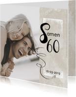 Moderne uitnodiging 'Samen 60!' met foto
