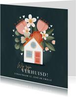 Moderne verhuiskaart planten, bloemen, hartjes en huisje