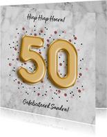 Moderne verjaardagskaart folieballon '50' met confetti