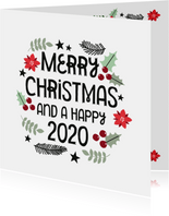 Moderne Weihnachtskarte 'Merry Christmas and a Happy 2020'