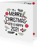 Moderne Weihnachtskarte 'Merry Christmas and a Happy 2021'