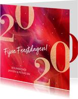 Moderne zakelijke kerstkaart 2020 in rood met goud