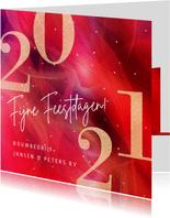 Moderne zakelijke kerstkaart 2021 in rood met goud