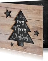Moderne zakelijke kerstkaart hout, kerstboom, tekst & sneeuw