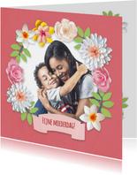 Moederdag fotokaart met bloemen