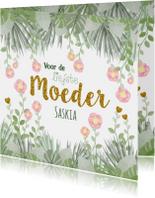 Moederdag hippe kaart bloemen en botanica