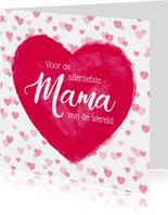 Moederdag kaart groot hart allerliefste mama