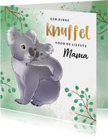 Moederdag kaart met mama koala en baby