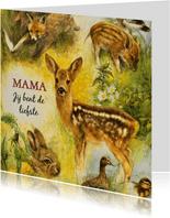 Moederdag kaart met verschillende dieren