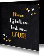 Moederdag kaart typografie krijtbord met gouden elementen