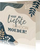 Moederdag kaart voor schoonmoeder met plantjes en vormen