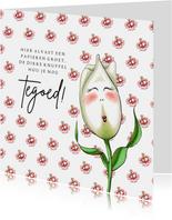 Moederdag kaarten tulp met knuffel tegoed