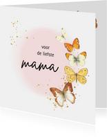 Moederdag kaarten - Vlinders met roze waterverf cirkel