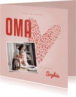 Moederdag Oma kaartje OMA met hart, foto en naam