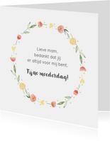 Moederdagkaart bloemenkrans aanpasbare tekst
