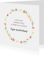 Moederdagkaart bloemenkrans, aanpasbare tekst