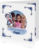 Moederdagkaart delfts blauw tegeltje met foto en oma