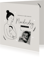 Moederdagkaart eerste moederdag met portretje en foto