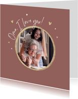 Moederdagkaart foto hartjes goud oma i love you