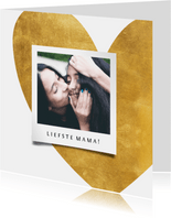 Moederdagkaart gouden hart met foto