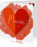 Moederdagkaart groot hart en hartjes op rode waterverf
