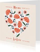 Moederdagkaart hart met roze pastel bloemen en besjes
