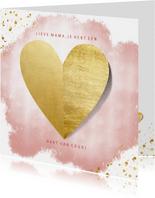 Moederdagkaart hart van goud op roze waterverf