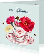 Moederdagkaart Kopje met vrolijke bloemen