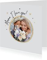 Moederdagkaart mama i love you goud hartjes foto