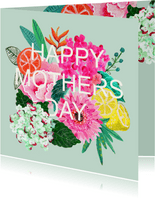 Moederdagkaart met bloemen en strakke lettering