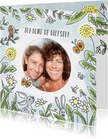 Moederdagkaart met bloemen lente en foto