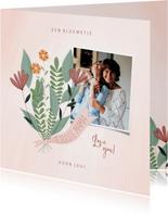 Moederdagkaart met foto en een bloemetje voor jou