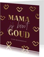 Moederdagkaart met gouden kusjes in goud