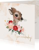 Moederdagkaart met hertje en rozen