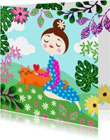 Moederdagkaart met vrolijk meisje, kat, planten en hart