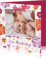 Moederdagkaart vrolijke bloemen met foto
