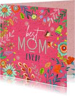 Moederdagkaart vrolijke bloemen rand