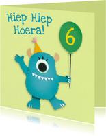 Monster met ballon verjaardagskaart