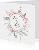 Mooi Bohemian trouwkaartje met watercolor bloemen