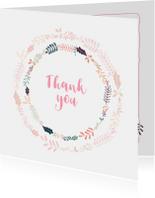 Mooie bedank kaart mooie fleurige bloemenkrans