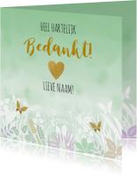 Mooie bedankkaart met bloemen, blaadjes in pasteltinten